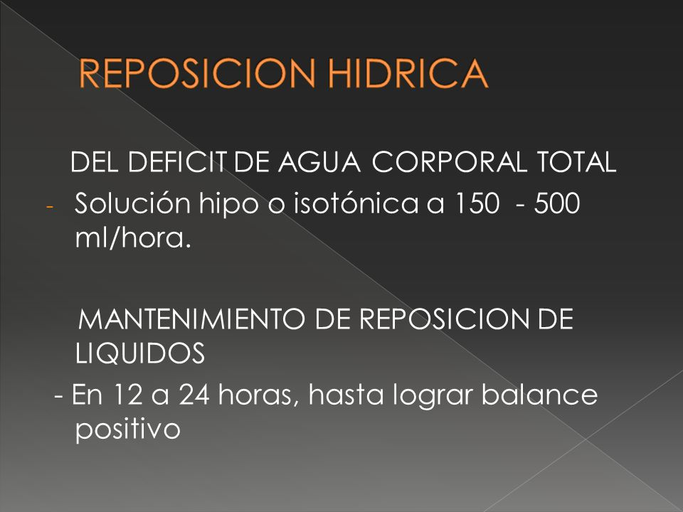 REPOSICION HIDRICA DEL DEFICIT DE AGUA CORPORAL TOTAL