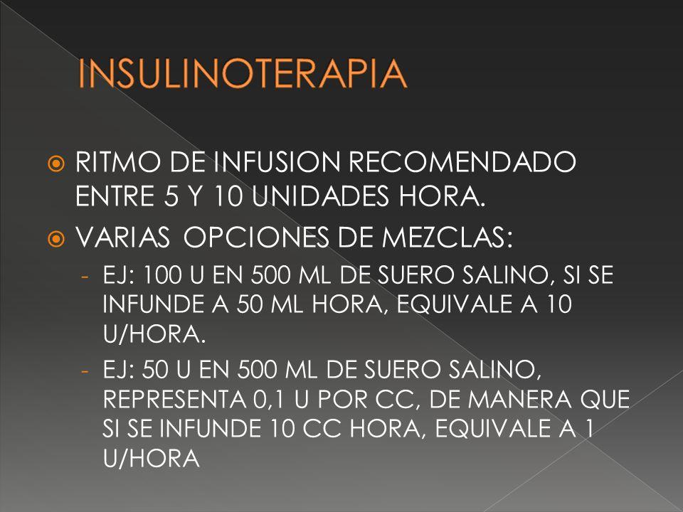 INSULINOTERAPIA RITMO DE INFUSION RECOMENDADO ENTRE 5 Y 10 UNIDADES HORA. VARIAS OPCIONES DE MEZCLAS: