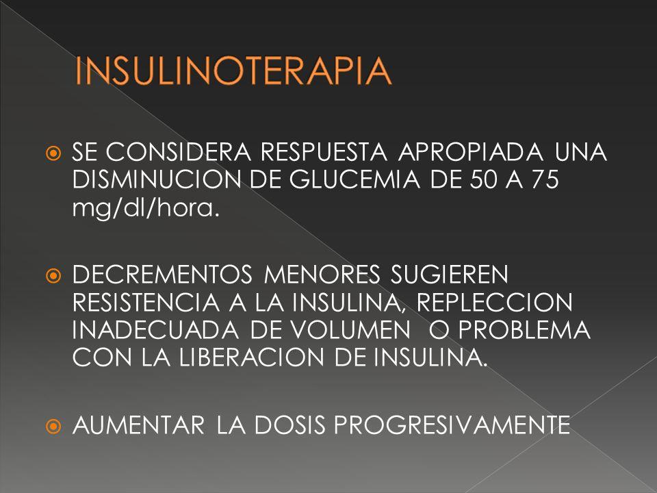INSULINOTERAPIA SE CONSIDERA RESPUESTA APROPIADA UNA DISMINUCION DE GLUCEMIA DE 50 A 75 mg/dl/hora.