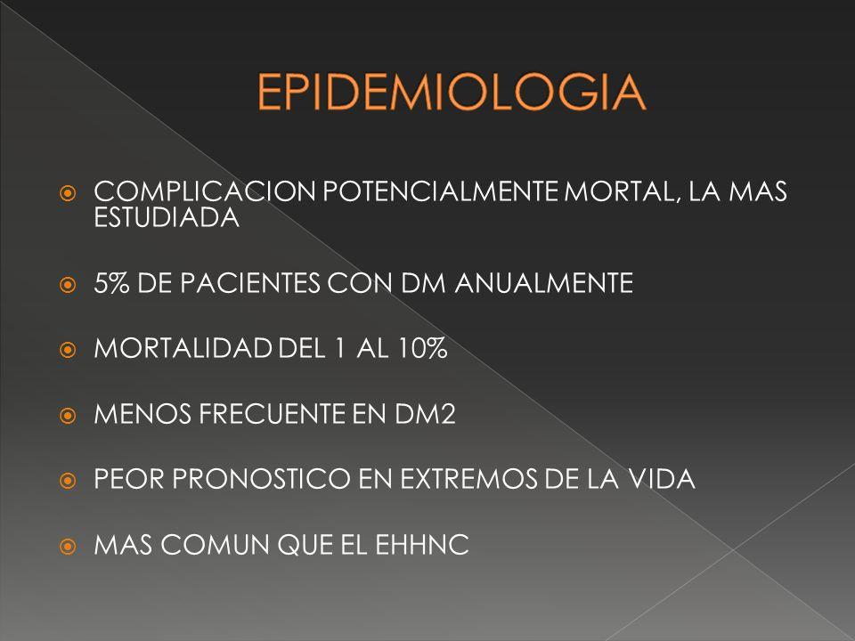 EPIDEMIOLOGIA COMPLICACION POTENCIALMENTE MORTAL, LA MAS ESTUDIADA