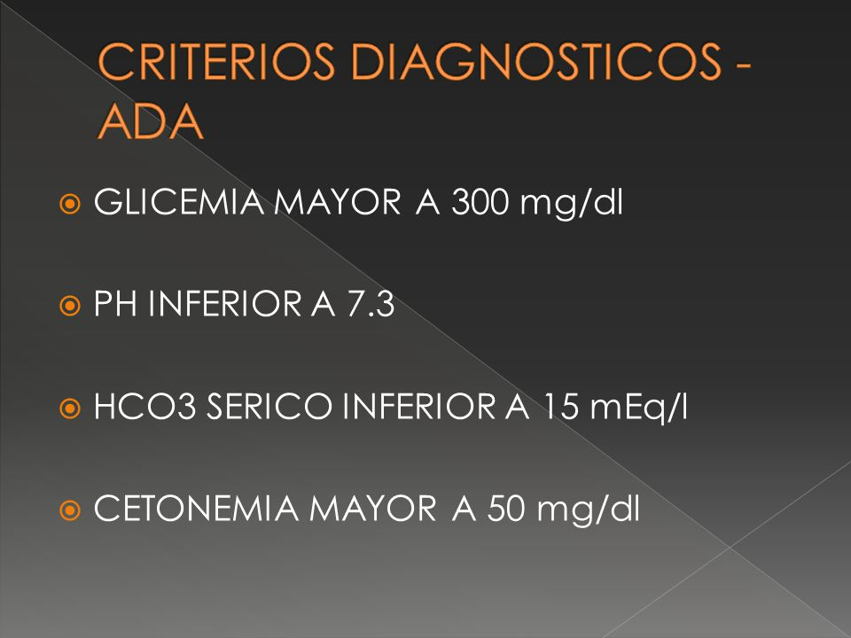 CRITERIOS DIAGNOSTICOS - ADA