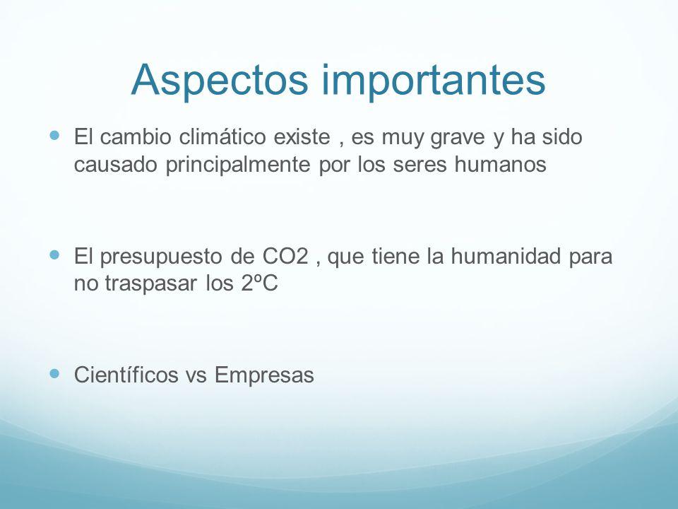 Aspectos importantes El cambio climático existe , es muy grave y ha sido causado principalmente por los seres humanos.