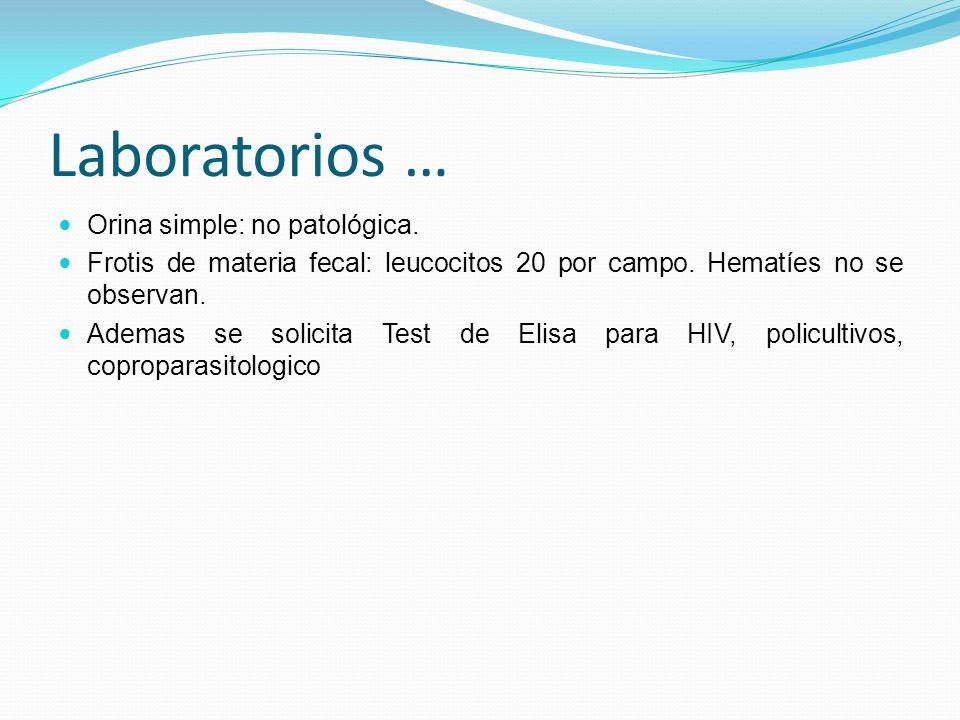 Laboratorios … Orina simple: no patológica.