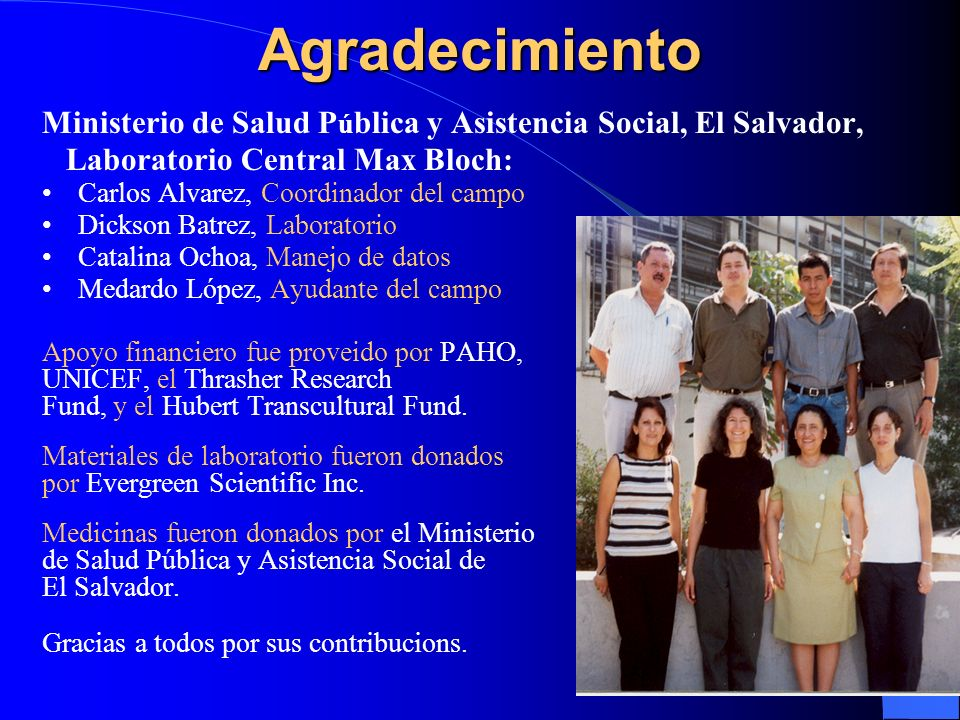 Agradecimiento Ministerio de Salud Pública y Asistencia Social, El Salvador, Laboratorio Central Max Bloch: