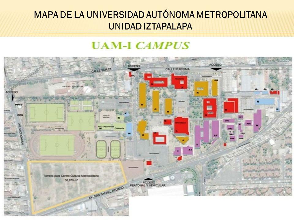 MAPA DE LA UNIVERSIDAD AUTÓNOMA METROPOLITANA UNIDAD IZTAPALAPA