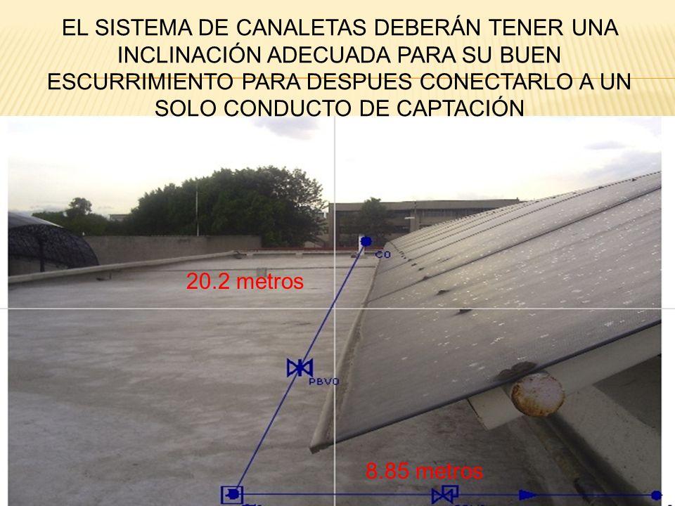 EL SISTEMA DE CANALETAS DEBERÁN TENER UNA INCLINACIÓN ADECUADA PARA SU BUEN ESCURRIMIENTO PARA DESPUES CONECTARLO A UN SOLO CONDUCTO DE CAPTACIÓN