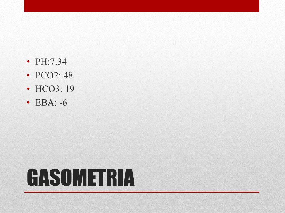 PH:7,34 PCO2: 48 HCO3: 19 EBA: -6 GASOMETRIA