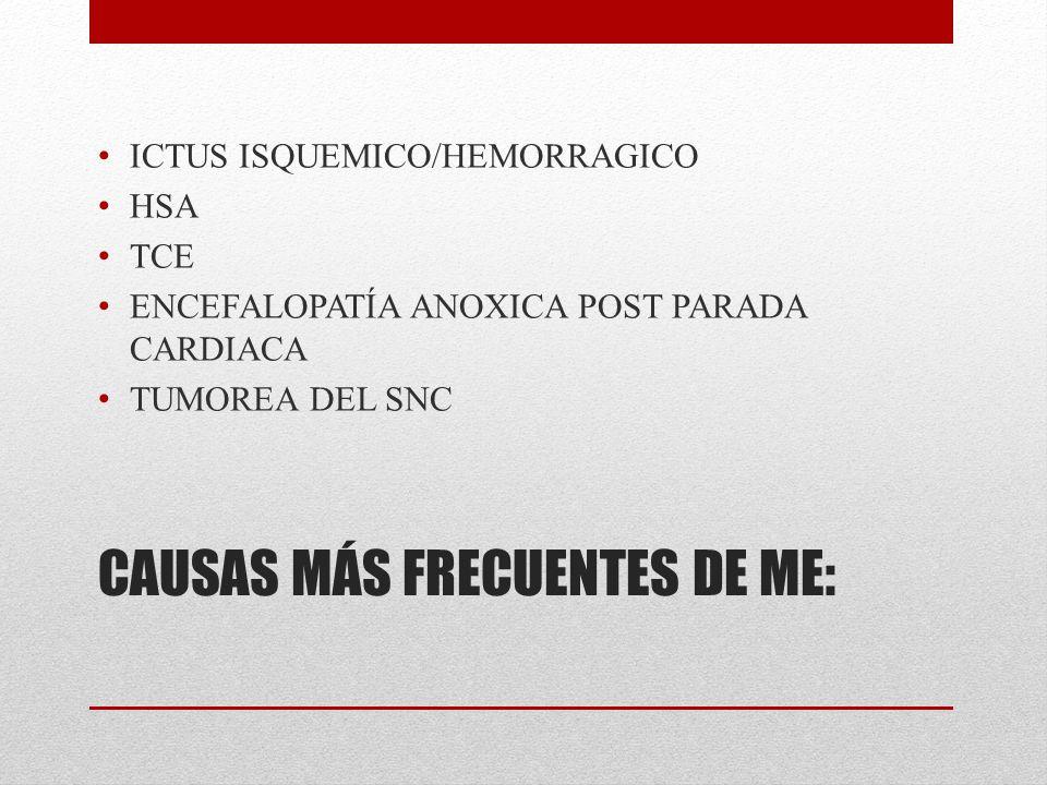 CAUSAS MÁS FRECUENTES DE ME: