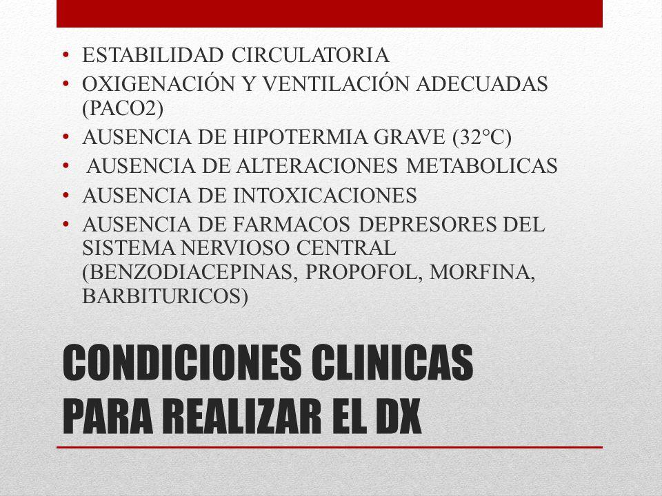 CONDICIONES CLINICAS PARA REALIZAR EL DX