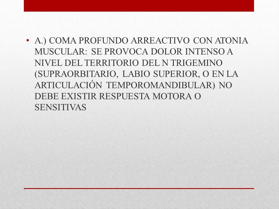A.) COMA PROFUNDO ARREACTIVO CON ATONIA MUSCULAR: SE PROVOCA DOLOR INTENSO A NIVEL DEL TERRITORIO DEL N TRIGEMINO (SUPRAORBITARIO, LABIO SUPERIOR, O EN LA ARTICULACIÓN TEMPOROMANDIBULAR) NO DEBE EXISTIR RESPUESTA MOTORA O SENSITIVAS