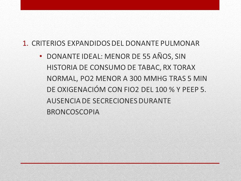 CRITERIOS EXPANDIDOS DEL DONANTE PULMONAR