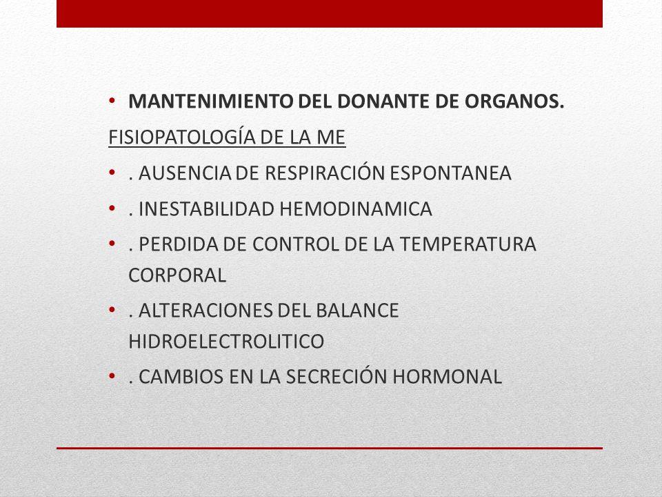 MANTENIMIENTO DEL DONANTE DE ORGANOS.