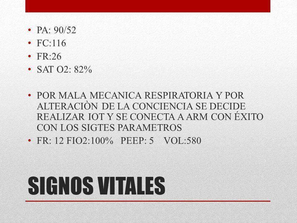 SIGNOS VITALES PA: 90/52 FC:116 FR:26 SAT O2: 82%