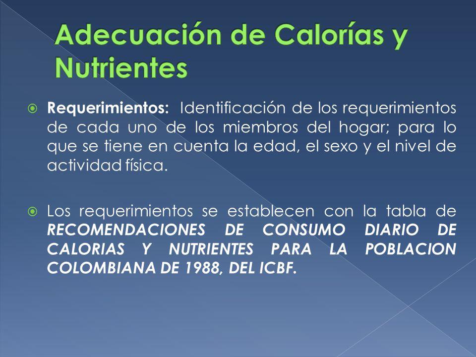 Adecuación de Calorías y Nutrientes