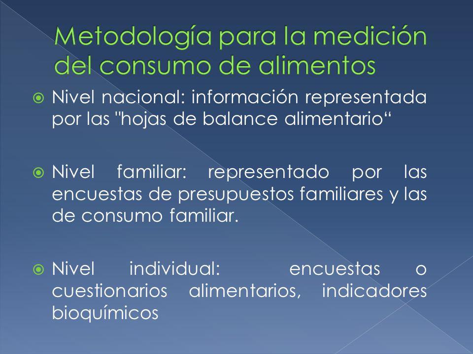Metodología para la medición del consumo de alimentos