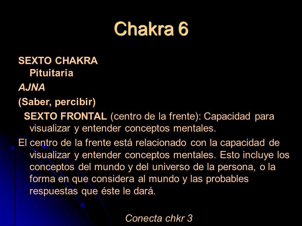Chakra 6 SEXTO CHAKRA Pituitaria AJNA (Saber, percibir)