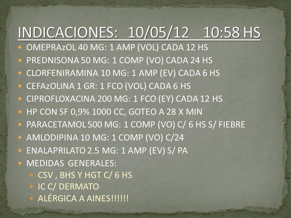 INDICACIONES: 10/05/12 10:58 HS OMEPRAzOL 40 MG: 1 AMP (VOL) CADA 12 HS. PREDNISONA 50 MG: 1 COMP (VO) CADA 24 HS.