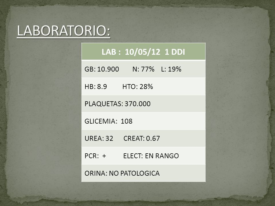 LABORATORIO: LAB : 10/05/12 1 DDI GB: 10.900 N: 77% L: 19%