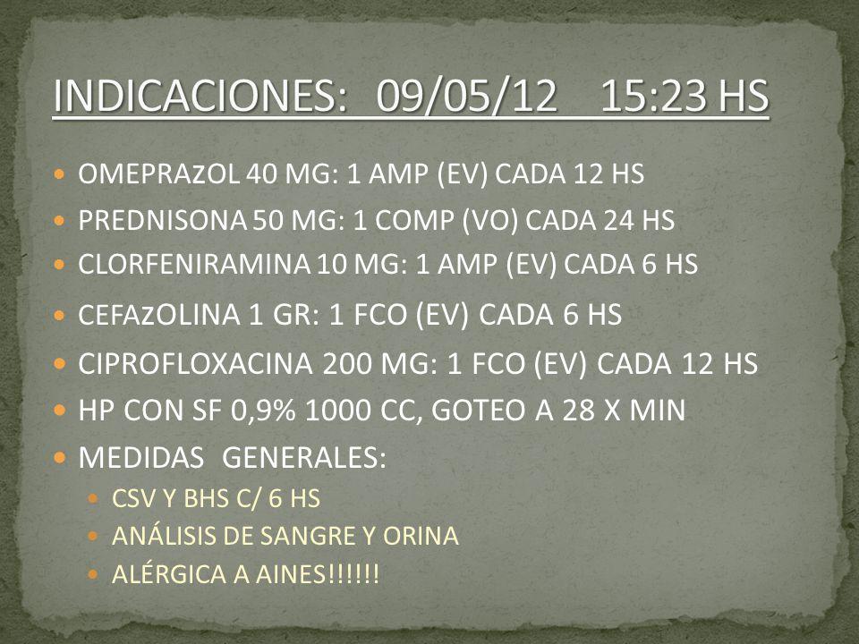 INDICACIONES: 09/05/12 15:23 HS OMEPRAzOL 40 MG: 1 AMP (EV) CADA 12 HS. PREDNISONA 50 MG: 1 COMP (VO) CADA 24 HS.