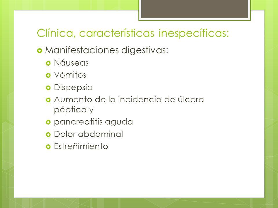 Clínica, características inespecíficas: