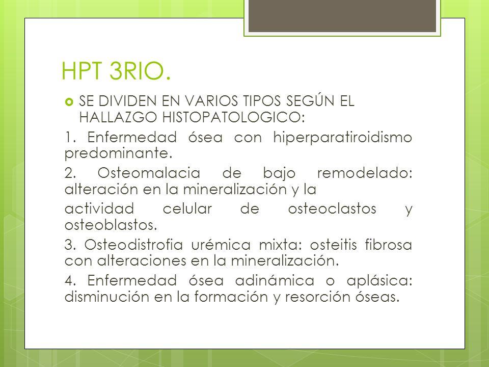 HPT 3RIO. SE DIVIDEN EN VARIOS TIPOS SEGÚN EL HALLAZGO HISTOPATOLOGICO: 1. Enfermedad ósea con hiperparatiroidismo predominante.