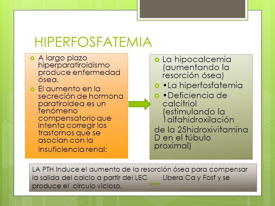 HIPERFOSFATEMIA La hipocalcemia (aumentando la resorción ósea)