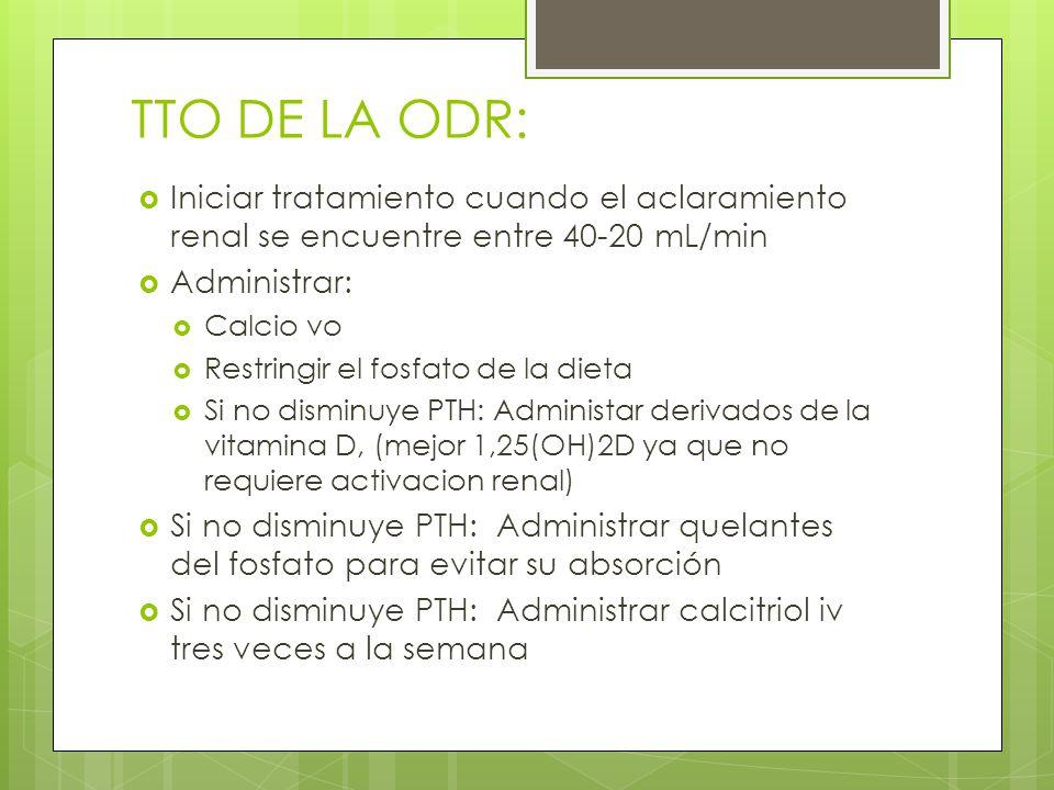 TTO DE LA ODR: Iniciar tratamiento cuando el aclaramiento renal se encuentre entre 40-20 mL/min. Administrar:
