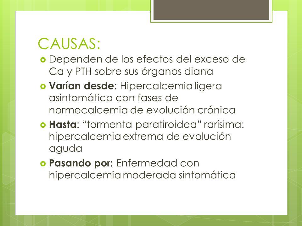 CAUSAS: Dependen de los efectos del exceso de Ca y PTH sobre sus órganos diana.