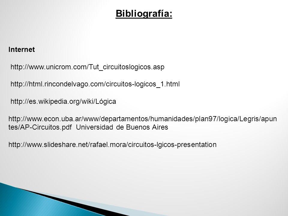 Bibliografía: Internet http://www.unicrom.com/Tut_circuitoslogicos.asp