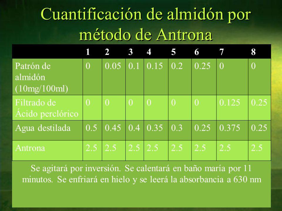 Cuantificación de almidón por método de Antrona