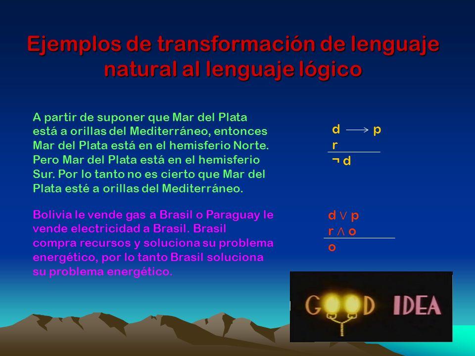 Ejemplos de transformación de lenguaje natural al lenguaje lógico