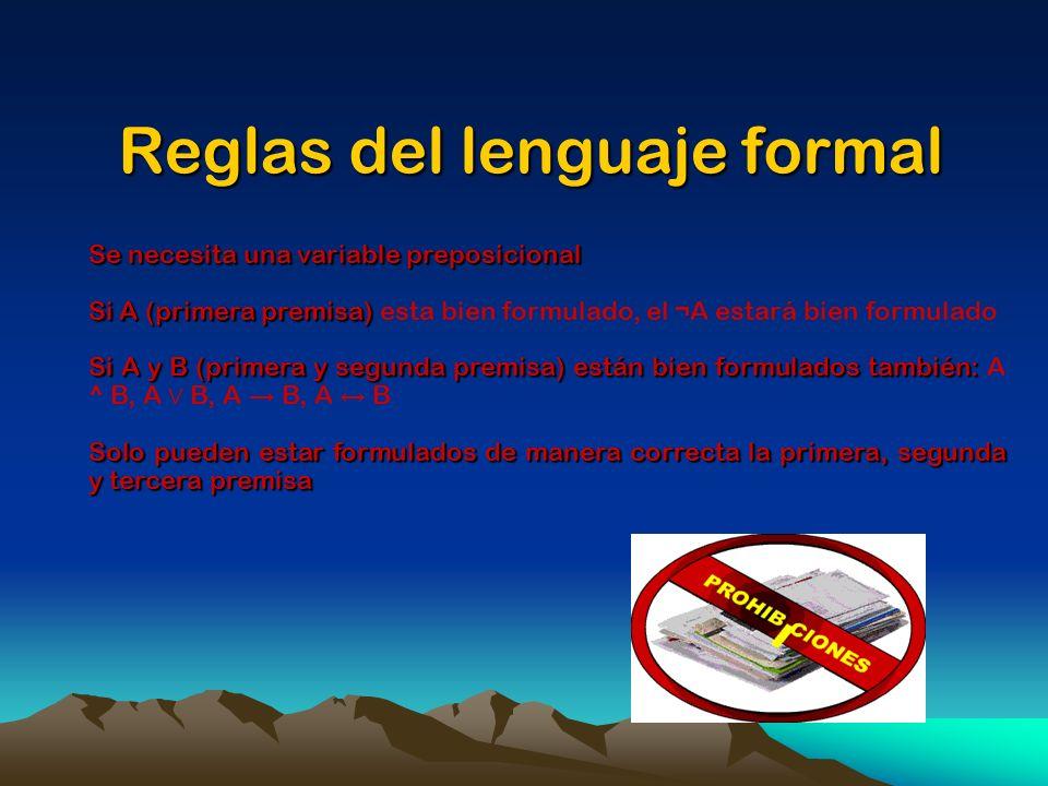 Reglas del lenguaje formal