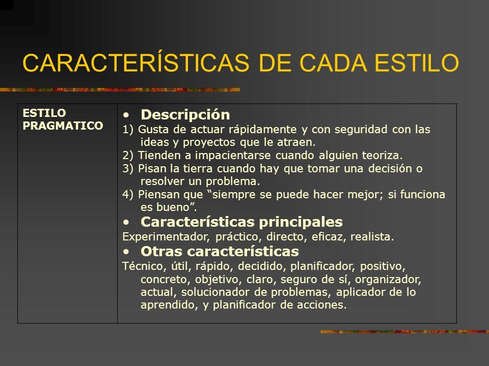 CARACTERÍSTICAS DE CADA ESTILO