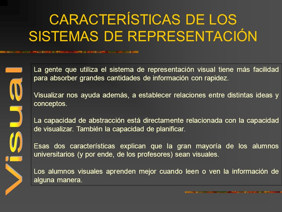 CARACTERÍSTICAS DE LOS SISTEMAS DE REPRESENTACIÓN