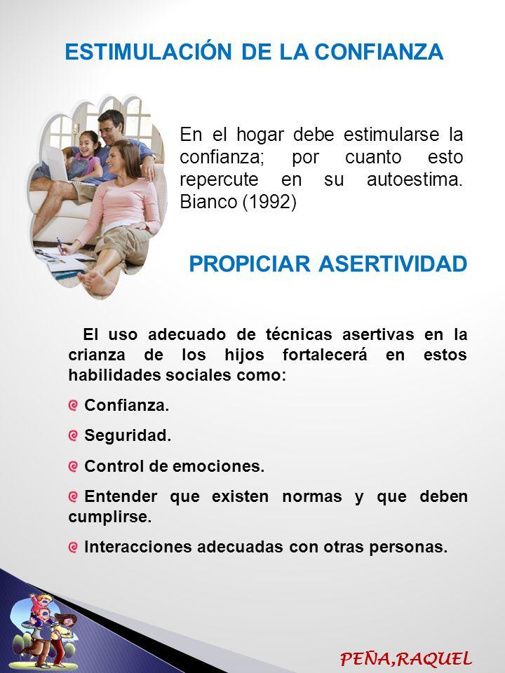 ESTIMULACIÓN DE LA CONFIANZA PROPICIAR ASERTIVIDAD
