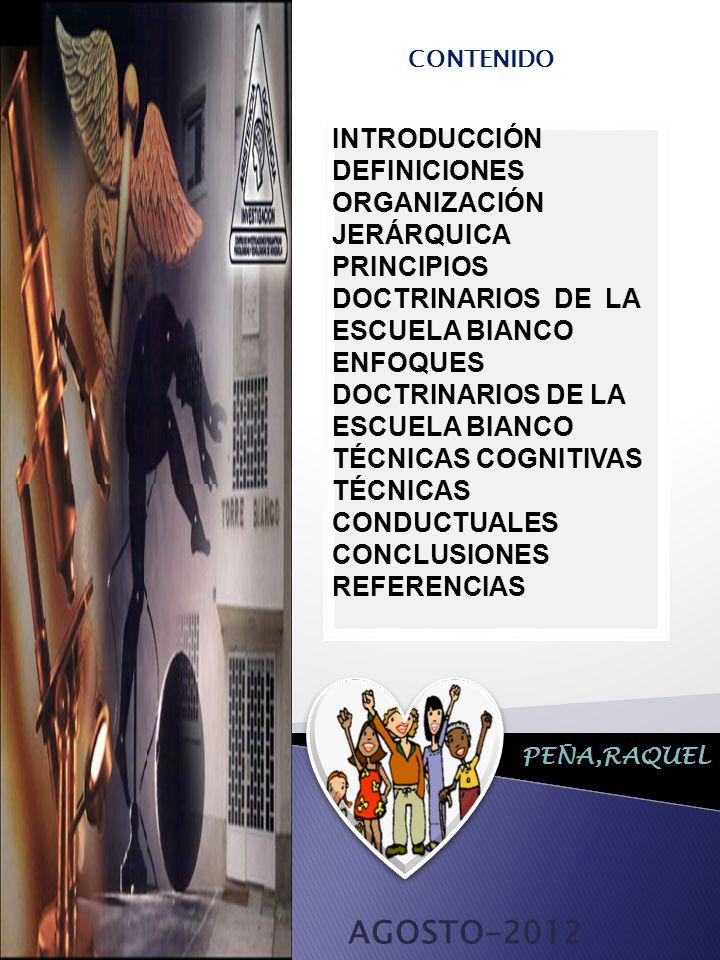 AGOSTO-2012 INTRODUCCIÓN DEFINICIONES ORGANIZACIÓN JERÁRQUICA