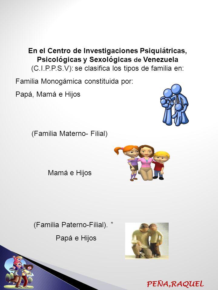En el Centro de Investigaciones Psiquiátricas, Psicológicas y Sexológicas de Venezuela (C.I.P.P.S.V): se clasifica los tipos de familia en: