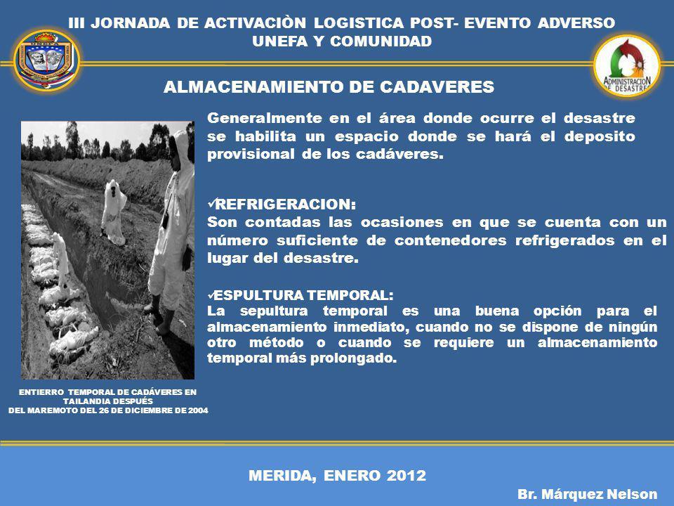 ALMACENAMIENTO DE CADAVERES