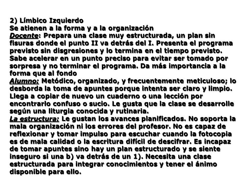 2) Límbico Izquierdo Se atienen a la forma y a la organización.