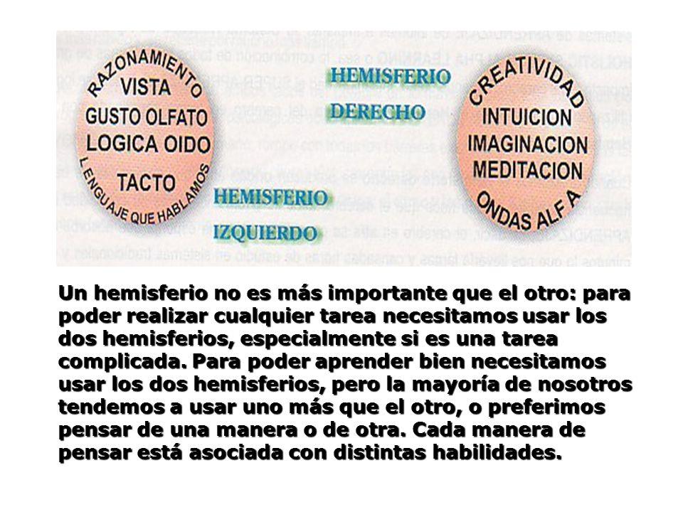 Un hemisferio no es más importante que el otro: para poder realizar cualquier tarea necesitamos usar los dos hemisferios, especialmente si es una tarea complicada.