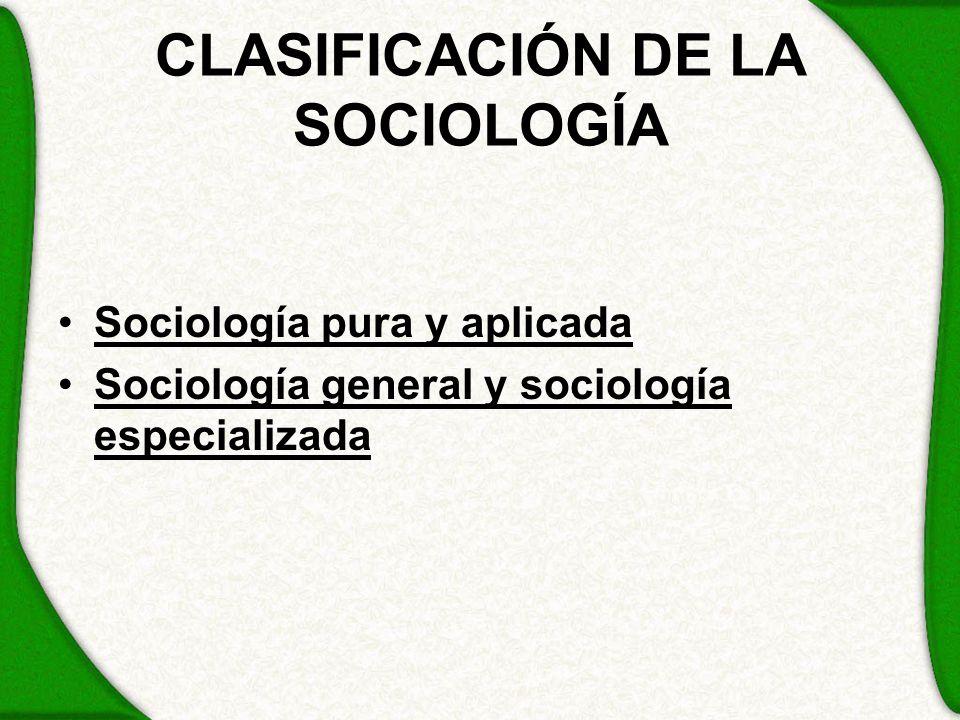 CLASIFICACIÓN DE LA SOCIOLOGÍA