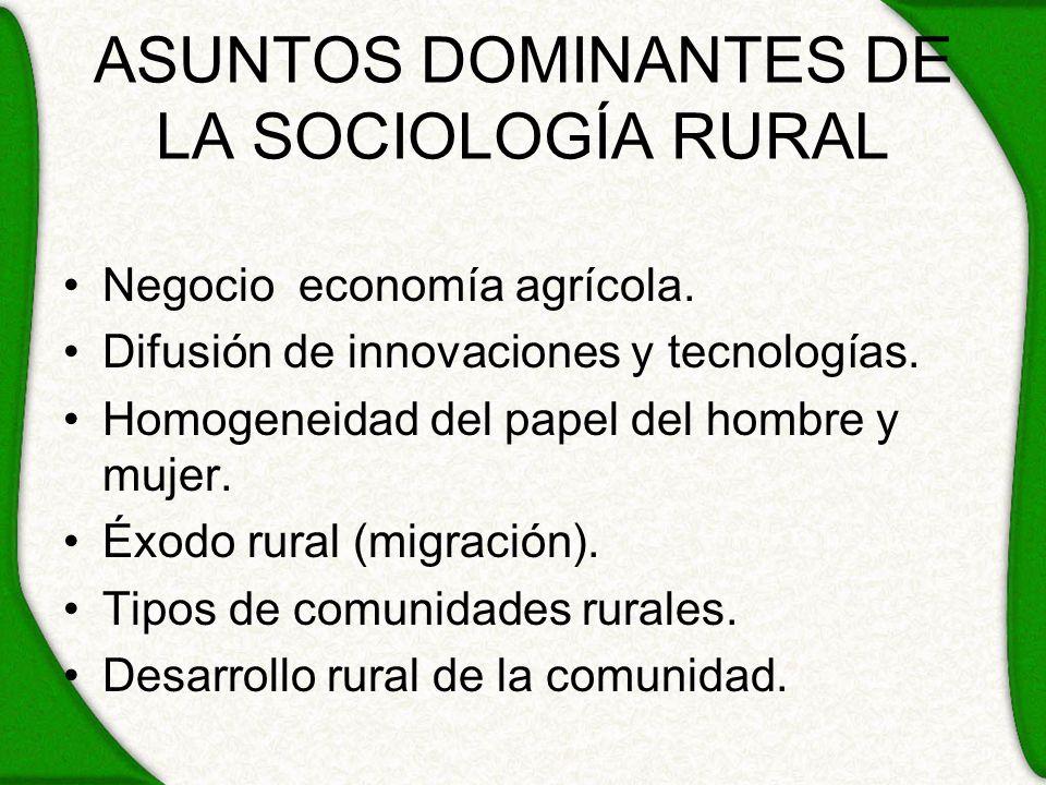 ASUNTOS DOMINANTES DE LA SOCIOLOGÍA RURAL