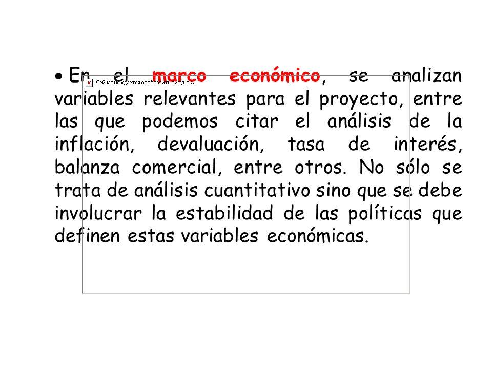En el marco económico, se analizan variables relevantes para el proyecto, entre las que podemos citar el análisis de la inflación, devaluación, tasa de interés, balanza comercial, entre otros.