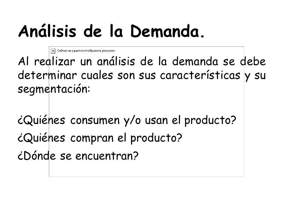 Análisis de la Demanda. Al realizar un análisis de la demanda se debe determinar cuales son sus características y su segmentación:
