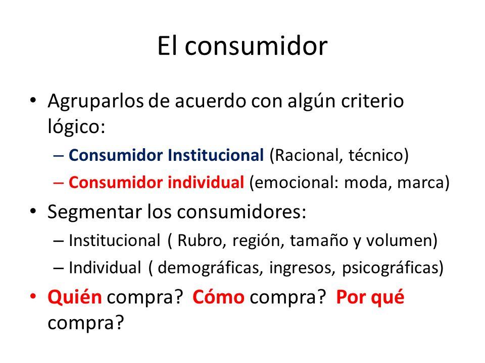 El consumidor Agruparlos de acuerdo con algún criterio lógico: