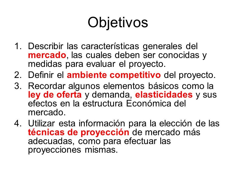 Objetivos Describir las características generales del mercado, las cuales deben ser conocidas y medidas para evaluar el proyecto.