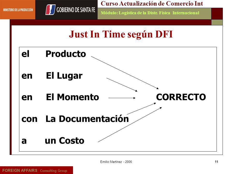 Just In Time según DFI el Producto en El Lugar en El Momento CORRECTO