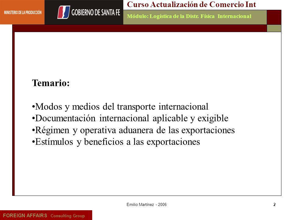 Modos y medios del transporte internacional