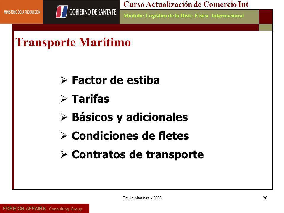 Transporte Marítimo Factor de estiba Tarifas Básicos y adicionales