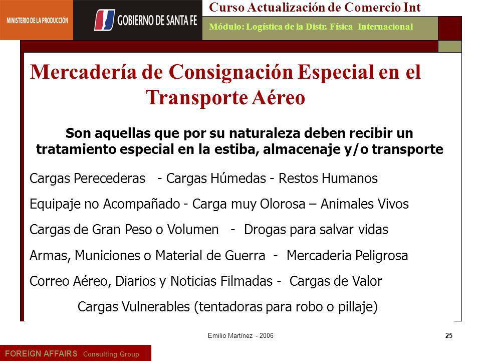 Mercadería de Consignación Especial en el Transporte Aéreo